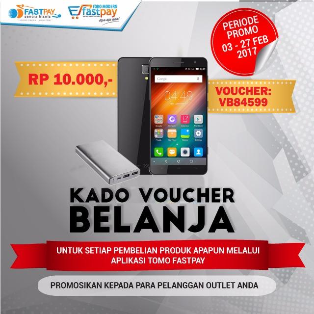 Voucher belanja Rp10.000 untuk semua produk di melalui aplikasi TOMO FASTPAY. Tidak ada batasan transaksi pembelian.
