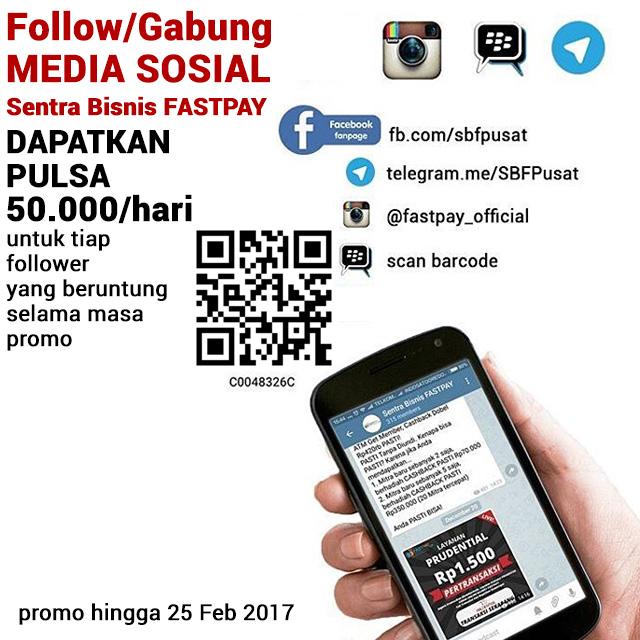 Follow media sosial SBF, dapatkan PULSA 50K tiap hari