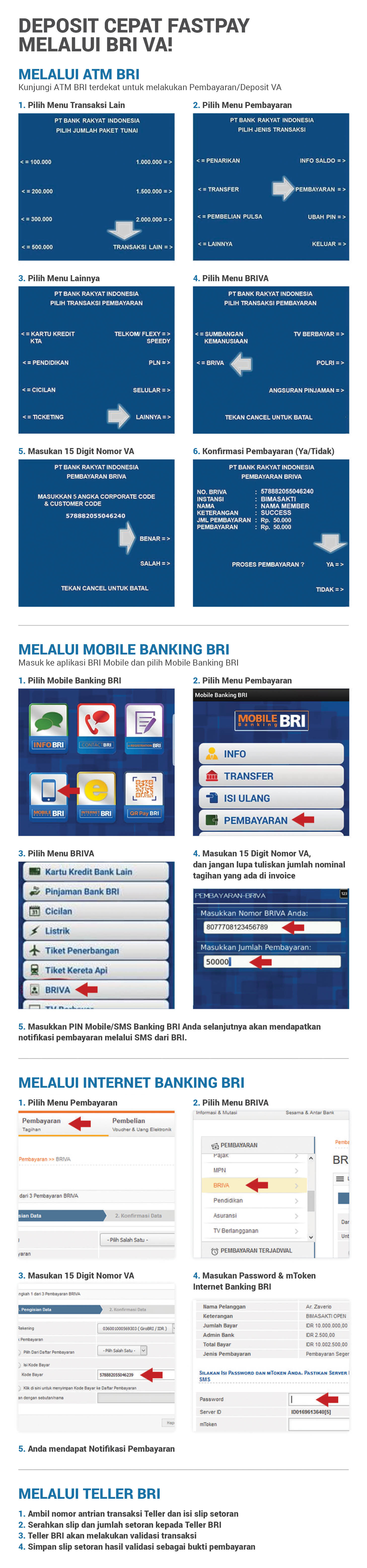 Tutorial deposit VA Virtual Account BRIVA deposit cepat