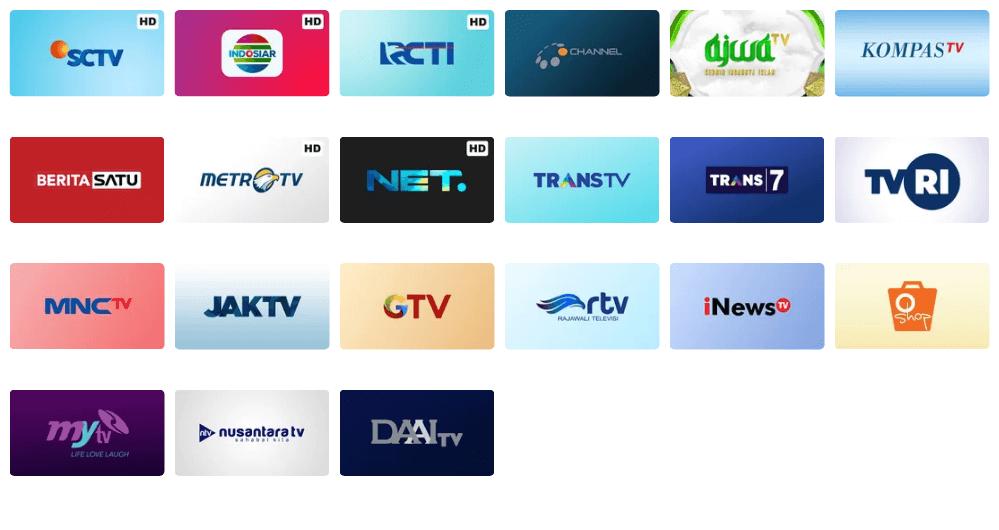 Channel TV Nasional Vidio