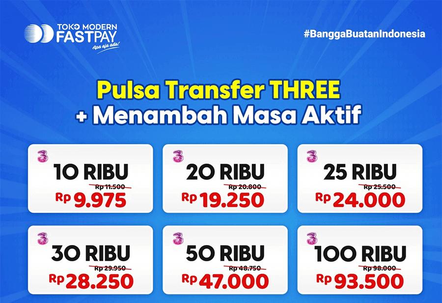 Pulsa transfer Three murah Fastpay