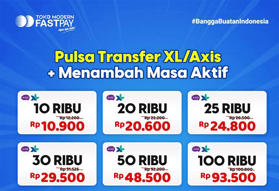 Pulsa transfer XL Axis murah Fastpay